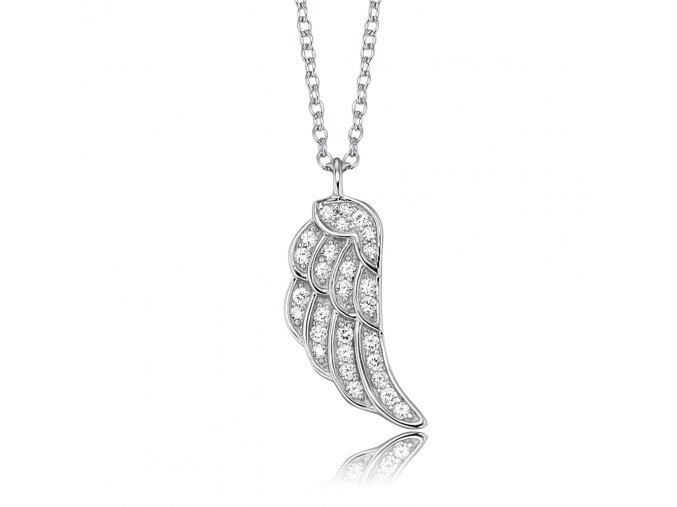Stříbrný náhrdelník s ANDĚLSKÝM KŘÍDLEM a zirkony