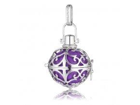 Stříbrný andělský zvonek fialový