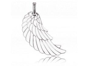 Stříbrné bílé křídlo zdobené smaltem