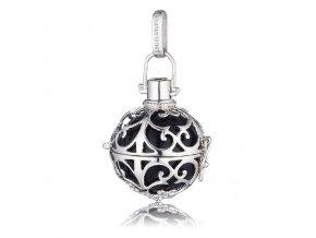 Stříbrný andělský zvonek černý