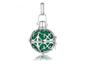 Stříbrný andělský zvonek zelený