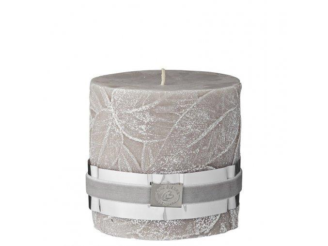 Dekorativní svíčka LEAF béžová se strukturou lístků, 9,5 x 10 cm
