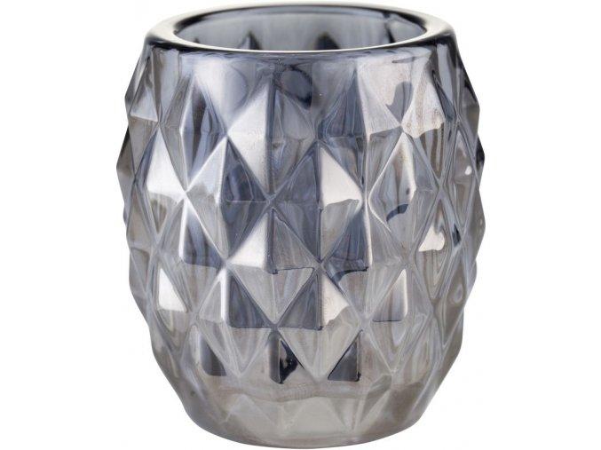 Skleněný svícen ALANA na čajovou svíčku s platinovým nátěrem