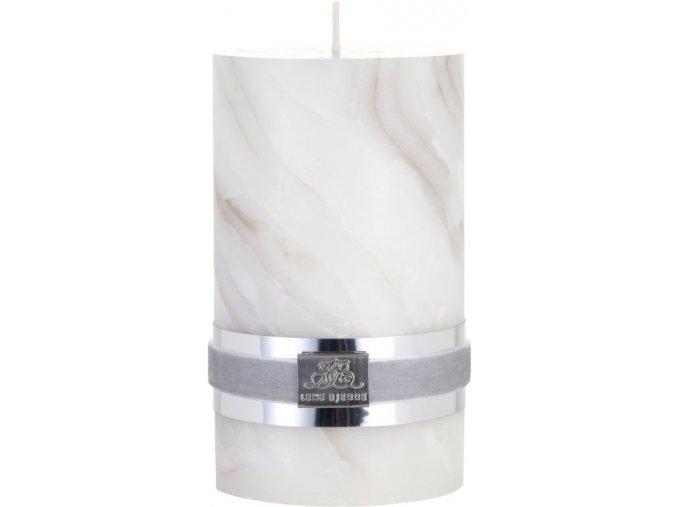 Svíčka s mramorovou strukturou MARBLE, béžová, velikost S, doba            hoření 20 hodin