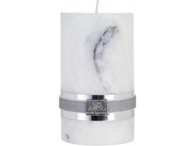 Svíčka s mramorovou strukturou MARBLE, šedá, velikost S, doba            hoření 20 hodin