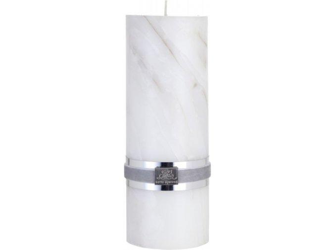 Svíčka s mramorovou strukturou MARBLE, béžová, velikost L , doba            hoření 30 hodin