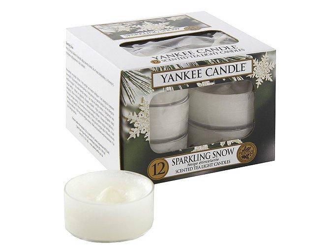 Yankee Candle Čajová svíčka Jiskřivý sníh (Sparkling Snow), 12 ks