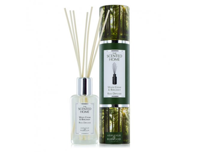 Aroma difuzér THE SCENTED HOME WHITE CEDAR & BERGAMOT (bílý cedr s bergamotem), 150 ml