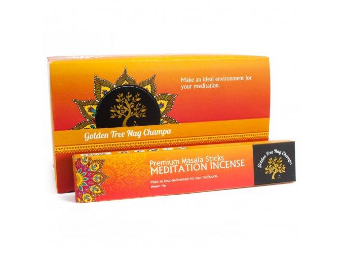 Vonné tyčinky Premium Nag Champa Golden Tree Meditace, 15 g