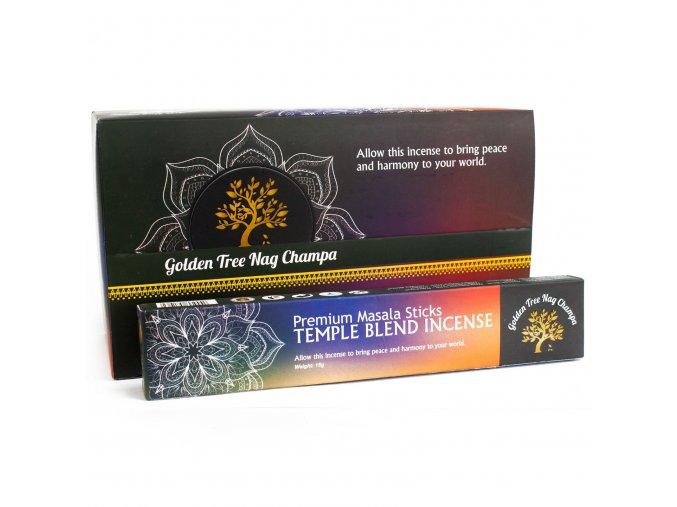 Vonné tyčinky Premium Nag Champa Golden Tree Temple Blend, 15 g