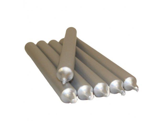 Dekorativní stolní svíčka metalická stříbrná, 21 cm