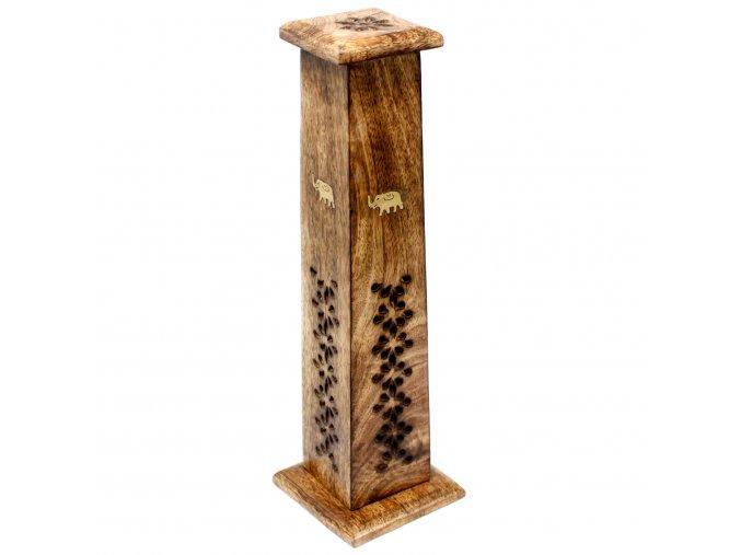 Stojánek na vonné tyčinky dřevěný Kuželovitá věž Shesham, 30 cm
