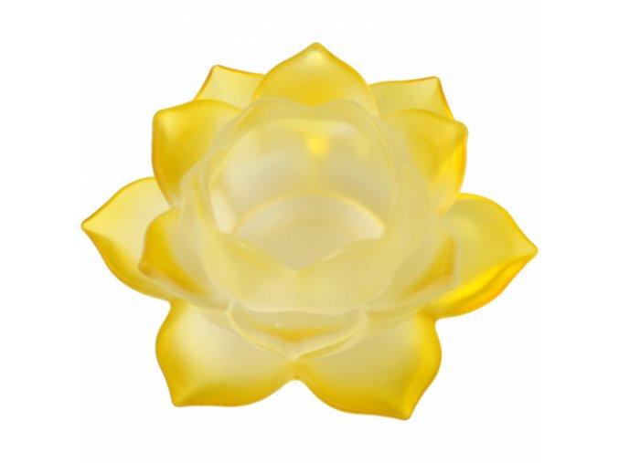 Svícen na čajovou svíčku skleněný Lotos žlutý, 5,5 x 12 cm