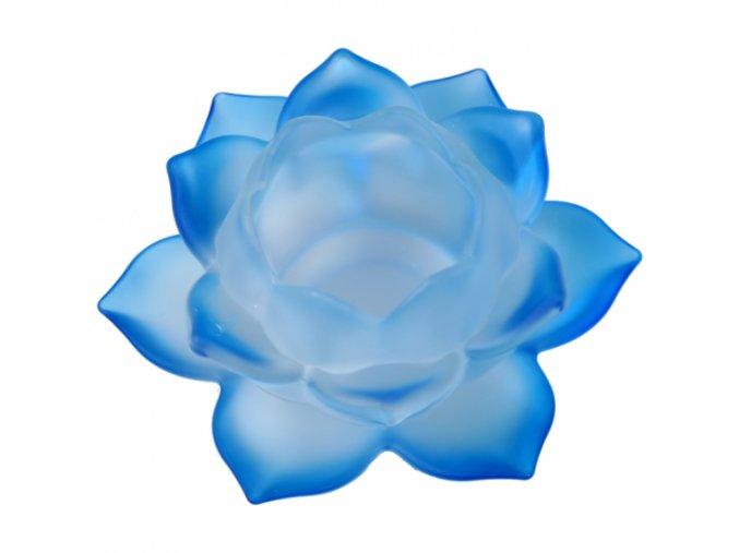 Svícen na čajovou svíčku skleněný Lotos modrý, 5,5 x 12 cm