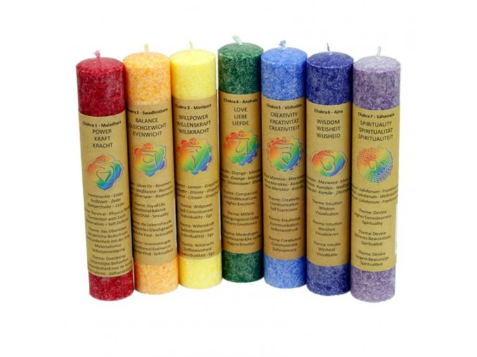 Vonné svíčky stolní Čakra dárková sada 7 ks