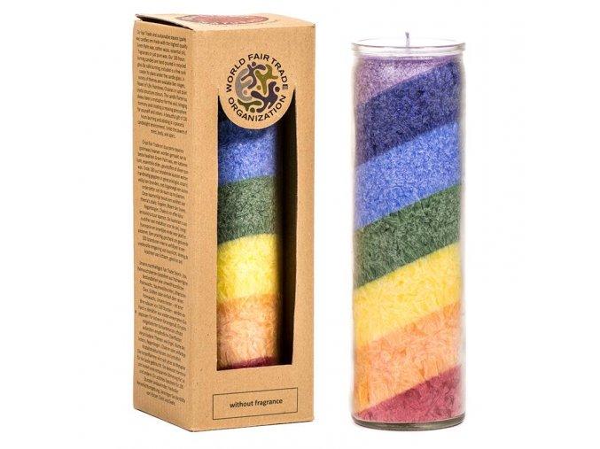 Svíčka ve skle Čakry bez parfemace, 20 x 7,5 cm
