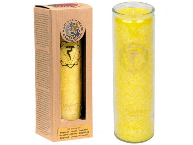 Vonná svíčka ve skle 3. Čakra Manipura, 21 x 6,5 cm