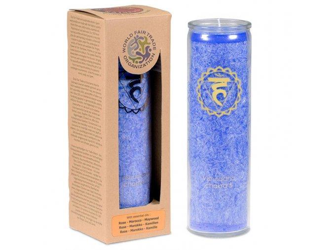 Vonná svíčka ve skle 5. Čakra Vishuddha, 21 x 6,5 cm