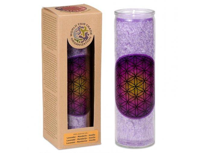 Vonná svíčka ve skle Květ života fialová, 21 x 6,5 cm