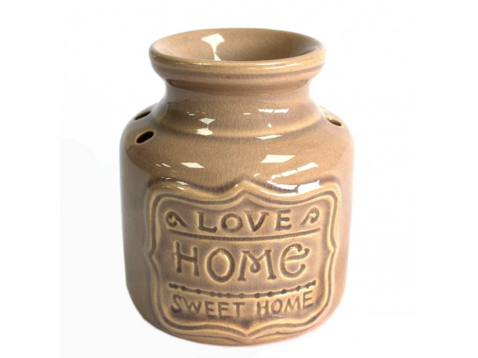 Aroma lampa Šedá Love Home Sweet Home, 11 x 9 x 9 cm