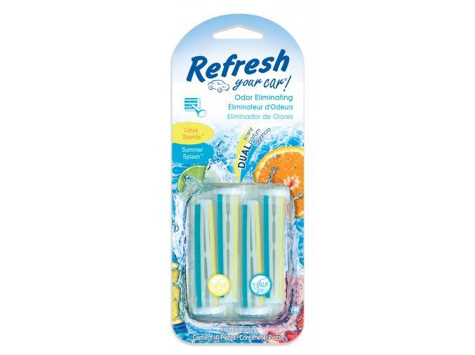Vonné kolíčky Refresh Dual Scent Citrus Sparkle Summer Splash, osvěžovač do auta, 4 ks