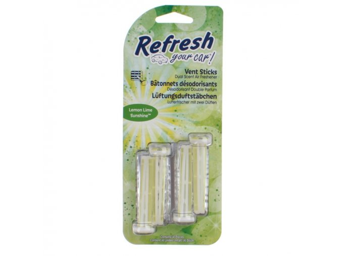 Vonné kolíčky Refresh your car Lemon Lime Sunshine, osvěžovač do auta, 4 ks