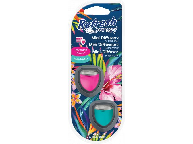 Refresh Your Car Mini Diffusers Psychedelic Flower Neon Jungle