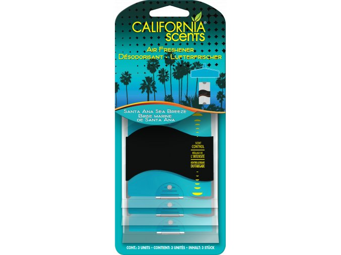 California Scents 3 Pack Paper Air Freshener Santa Ana Sea Breeze Vůně moře