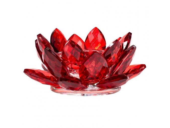 Svícen na čajovou svíčku Křišťál Lotos červený, 4,5 x 11 cm