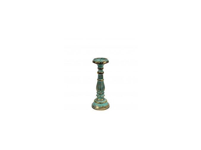 Dřevěný svícen Vintage malý tyrkysovo zlatý 30 cm
