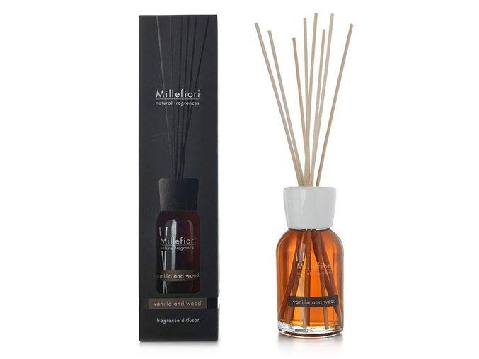 Aroma difuzér Millefiori Milano Natural, Vanilka a dřevo, 500 ml