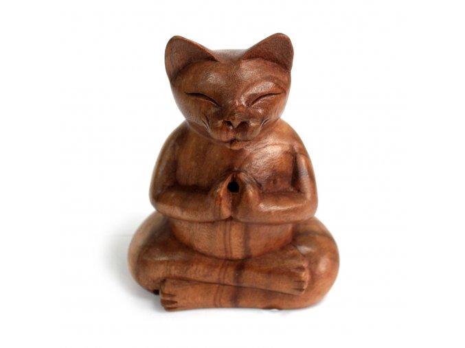 Stojánek na vonné kužely dřevěný Velká kočka, 17 x 11 x 8 cm