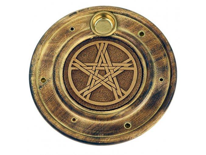 Stojánek na vonné tyčinky a kužely Pentagram, 10 cm