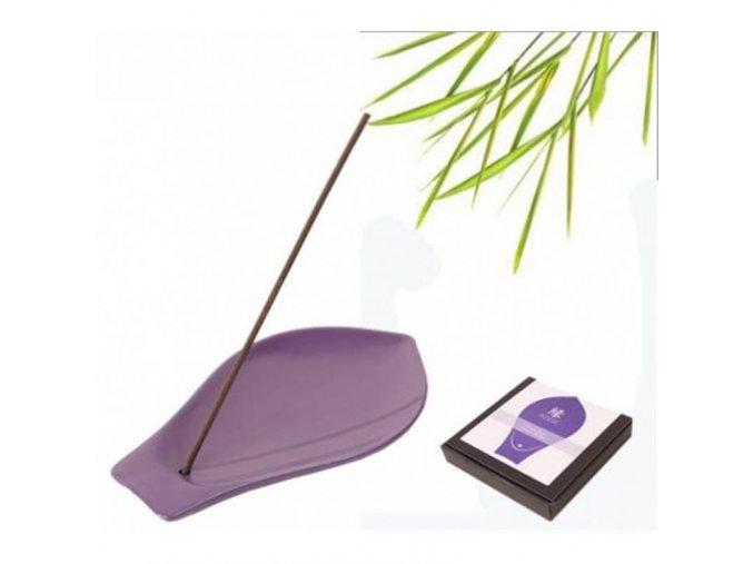 Stojánek na vonné tyčinky Lístek lotosu fialový 12 x 7 cm