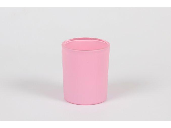 Skleněný svícen na čajové a votivní svíčky růžová