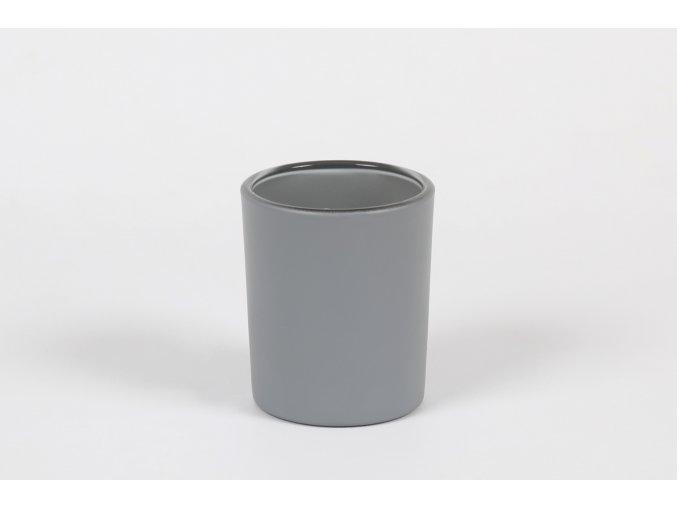 Skleněný svícen na čajové a votivní svíčky šedá