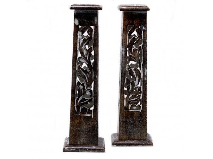 Stojánek na vonné tyčinky dřevěný Vymývaná věž Mango, 30 cm