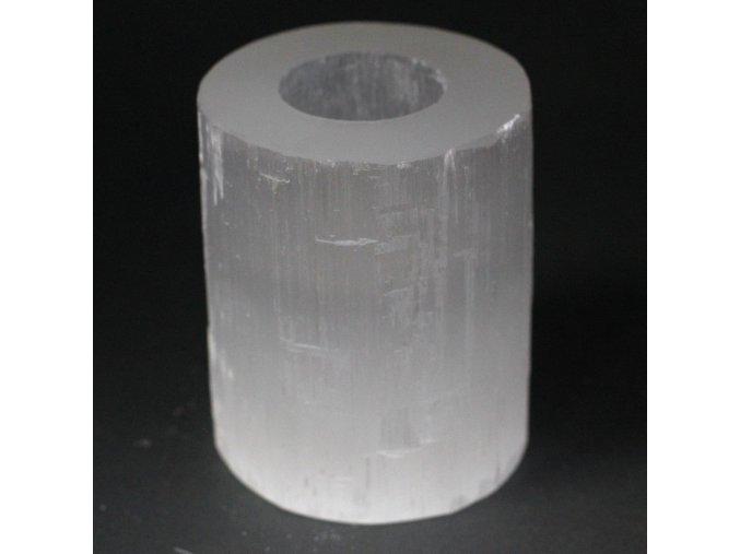 Svícen na čajovou svíčku Selenit válec, 10 cm