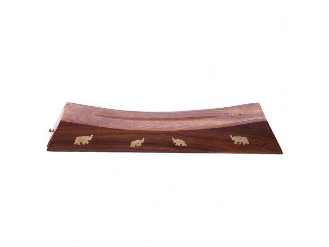 Stojánek na vonné tyčinky dřevěný se slony, 25 cm 2