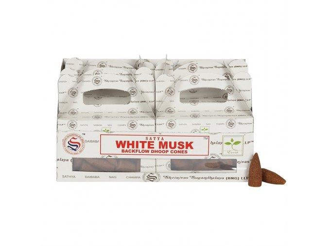 Vonné kužely tekoucí dým Shrinivas Satya White Musk, 24 ks