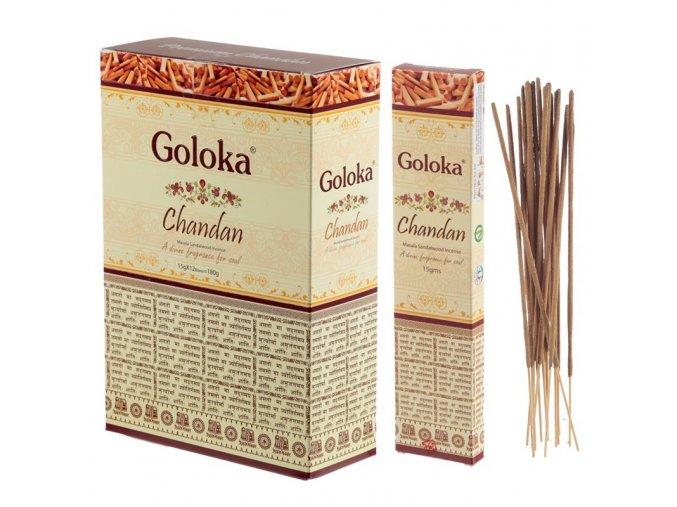 Goloka Masala Chandan Sandalwood Vonné tyčinky, 15 g