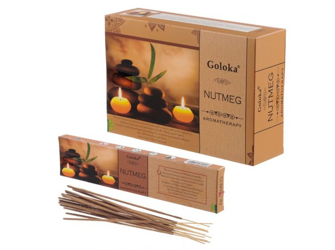 Goloka Aromatherapy Nutmeg Vonné tyčinky, 15 g