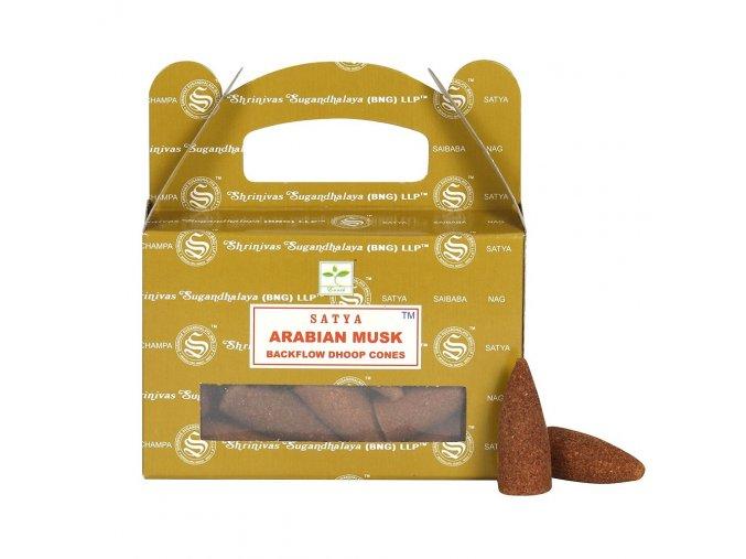 Shrinivas Satya Vonné kužely tekoucí dým Arabian Musk, 24 ks