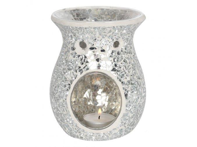 Jones Home Skleněná aroma lampa mozaika stříbrná, 14 x 11 x 11 cm
