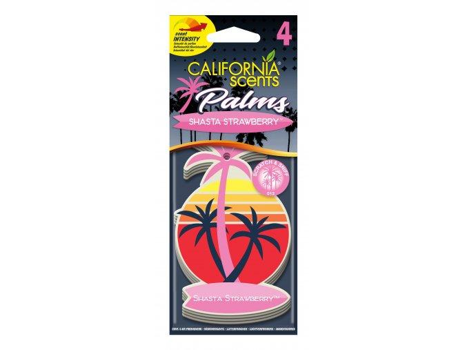California Scents Palms 2D Shasta Strawberry (Jahody) papírová visačka, 4 ks