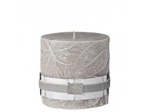 Lene Bjerre - Dekorativní svíčka LEAF béžová se strukturou lístků, 9,5 x 10 cm