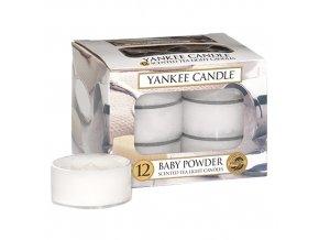 Yankee Candle  Čajová svíčka Dětský pudr - Baby Powder, 12 ks