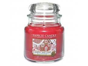 Vonná svíčka ve skleněné dóze Cestička z lízátek - Candy Cane Lane, 411 g