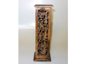 Stojánek na vonné tyčinky dřevěný Věž Antik tmavý, 30 cm