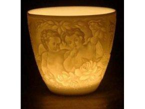 Porcelánový svícen Feng Shui Šeptání andělů, 8 x 8,5 x 4,5 cm